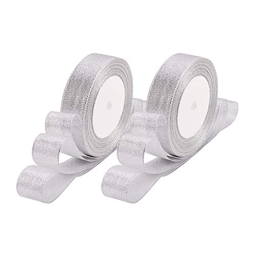 BENECREAT 125Yards (5 rolls X 25yd) 1-inch Wide Premium Glitter Metallic Sparkle Fabric Ribbon for Wedding, Holiday, Home Decoration, Gift Wrap (Silver)