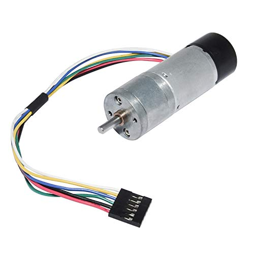 DC Gear Motor 12V Low Speed 10RPM Encoder Metal Gearmotor with Channel Encoder for DIY Engine Toy