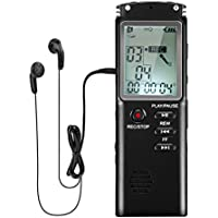 Voice Recorder , YESSHOW 8GB Digital Voice Recorders with LCD Screen & MP3 Player Built-in Mic USB Rechargeable Dictaphone Stereo for Recording Interviews Conversation Lectures Meetings Class