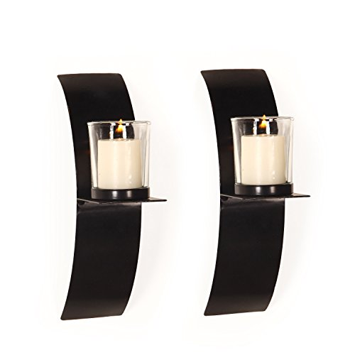 FrameArmy Cast Iron Vertical Wall Hanging Accents Candle Holder Sconce (Set of 2) (SD014)