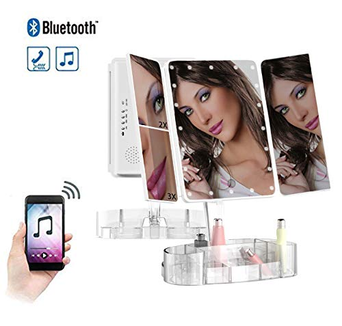 Email Bluetooth (Vanity Mirror with Lights and Bluetooth - Tri-Fold Makeup Mirror with Magnification (2x/3x/10x), Lighted Mirror with Makeup Organizer Tray - Touch Screen Dimming, 180 Rotation, USB Charging)