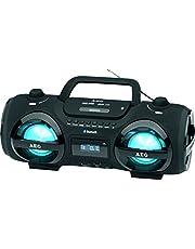 AEG SR 4359 Stereoradio-Soundbox CD/MP3/USB-Port/Card-Slot/AUX-IN mit Bluetooth inkl. 7 Farben Discolicht, 2x50 W+passiver Bass