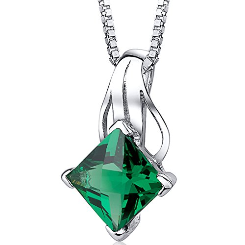 Simulated Emerald Princess Cut Pendant Sterling Silver 2.00 Carats