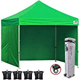 Eurmax 10'x10' Ez Pop Tent Commercial Instant Canopies 4 Removable Zipper End Side Walls Roller Bag Bonus 4 SandBags, 1-A Green