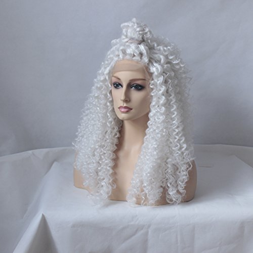 MHAZEL Free Part White Hair Color Afro Kinky Curly Glueless Hair Front Wigs (24in, white -