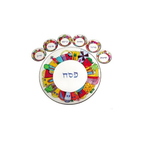 Yair Emanuel Glass Passover Seder Plate with Jerusalem Depictions by World Of Judaica