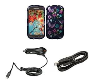 Bloutina Samsung Galaxy Light T399 (T-Mobile) - Premium Bundle Pack - Pink and Teal Butterfly Tulip Flowers Design Shield...