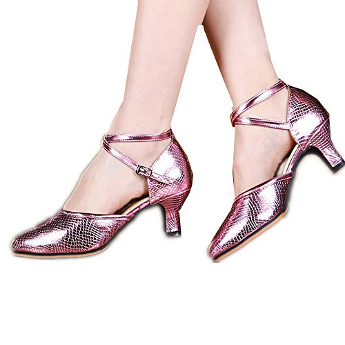 Girls Latin Dance Shoes Soft-Sole Satin Ballroom Shoes(Pink with high 5.5CM-EU 35/3 M US Little Kid)