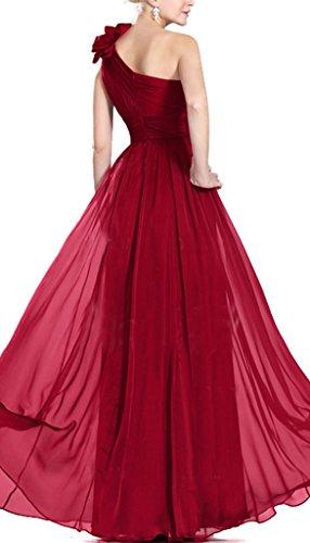 GEORGE BRIDE Eine Schulter handgemachte Blume Chiffon Abendkleid ...