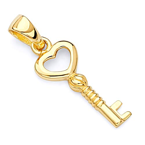 14k Yellow Gold Tiny Key to My Heart Charm Pendant (Gold Key Pendant)