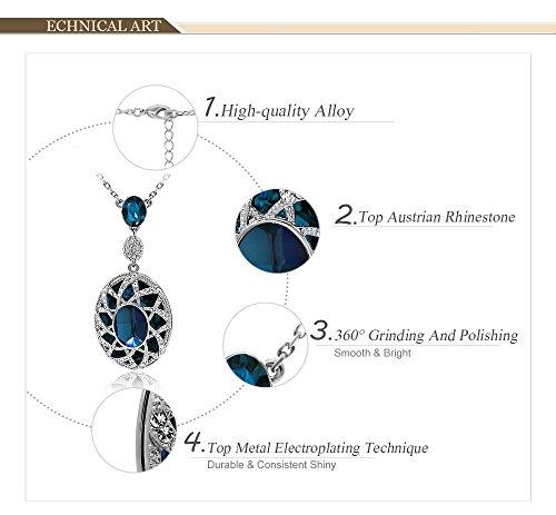Kemstone Argent Sapphire Pendentif Collier Cristal Bleu Femme Bijoux tendance, 45,7cm
