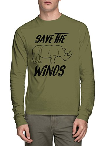 HAASE UNLIMITED Long Sleeve Men's Save The Winos Shirt (Olive, Large) ()