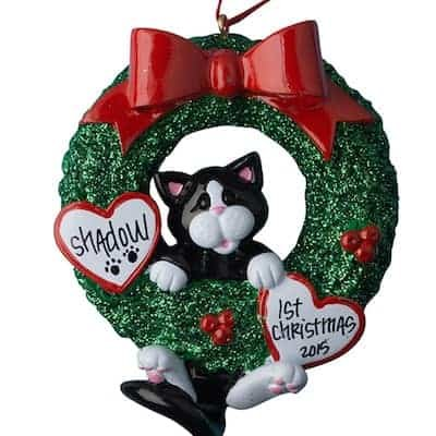 Tuxedo Cat Glitter Wreath Personalized Ornament - (Unique Christmas Tree Ornament - Classic Decor for A Holiday Party - Custom Decorations for Family Kids Baby Military Sports Or - Cat Personalized Ornaments