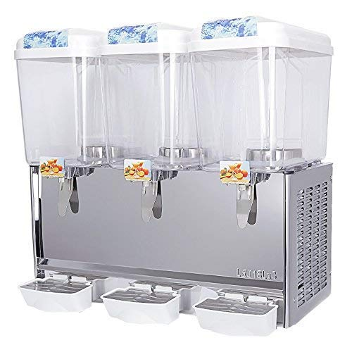 KUPPET Commercial Juice/Beverage Dispenser, 14.25 Gallon 3 Tanks Fruit Ice Tea Cold Drink with Spigot, Restaurant Buffet Food Service Catering Beverage Dispensers, Cold 380W