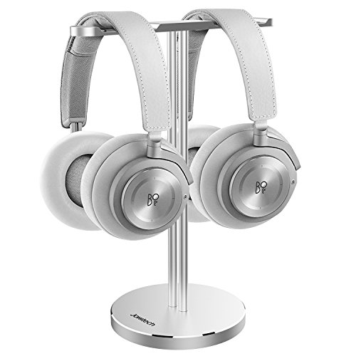 Dual Headphone Stand, Jokitech Aluminum Metal Desk Headset Holder Bracket Desktop Earphone Hanger Mount Storage Rack with Leather Silicon Protection for Home and Office Display -Silver