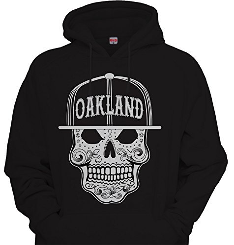 Mens Mexican Sugar Skull Hoodie Urbanwear Street wear Sweatshirt BLACK / White Oakland -
