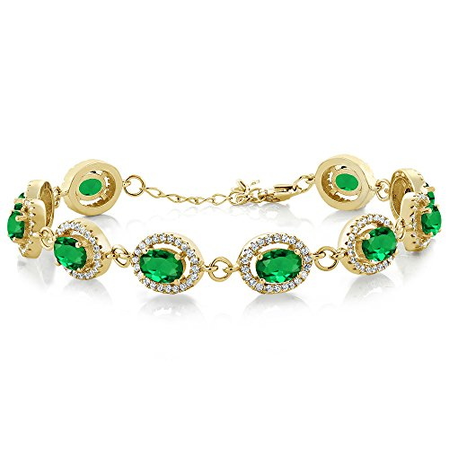 Gem Stone King 8.88 Ct Oval Green Simulated Emerald 18K Yellow Gold Plated Silver 7.5inches Bracelet