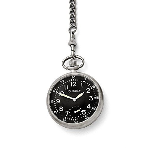 Mia Diamonds Chisel Stainless Steel Black Dial Pocket Watch