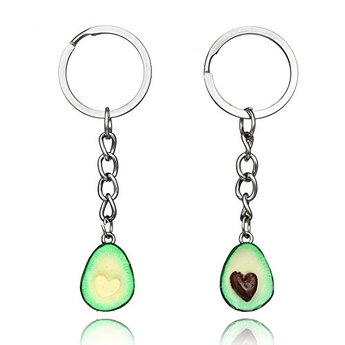 MINGHUA A Set Handcraft Green Avocado Friendship Keychain Handmade Pendant Oval Heart Love Present Necklace Food (Heart Keychain(Couples))