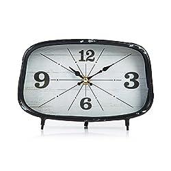Dannto Retro Vintage Metal Frame Decorative Non-ticking Clock Art Gift Home Decor Desk Clock (One size, Black-square)