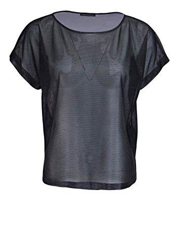 drykorn Kurzarm Shirt SOMIA Rundhals Oversize Glänzend Schwarz