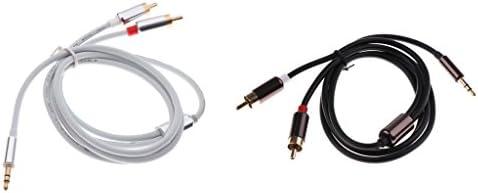 3.5mm ステレオ オスプラグ→2 RCA オーディオ オス アダプター スピーカー ケーブル コード ブラック