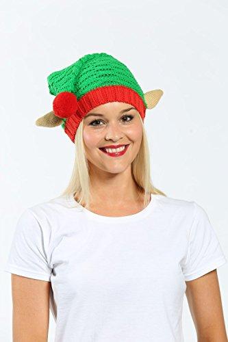 Punto Elf Gorro navideña CHRISTMASSHOP Verde decoración de con Nieve de BEqxwF