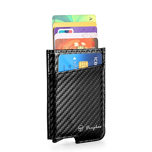 (RFID Blocking Slim Money Clip Aluminum Wallet Minimalist Automatic Pop-up Card Case (carbon fiberblack))