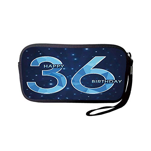 Neoprene Wristlet Wallet Bag,Coin Pouch,36th Birthday Decorations,Dots Star Space Inspired Stage with 36 Number Print,Dark Blue and Sky Blue,for Women and ()