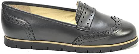 OGSwideshoes Caterina Black Leather Oxford Flats Extra Wide Fit