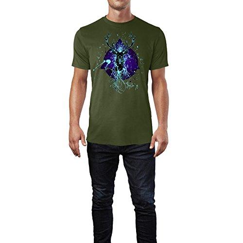 SINUS ART ® Hirschkopf im Splash Art Stil Herren T-Shirts in Armee Grün Fun Shirt mit tollen Aufdruck