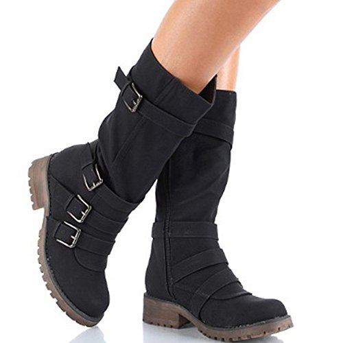 Hunleathy Women's Mid Calf Boots Buckles Combat Riding Boots Size 8 Black by Hunleathy (Image #7)