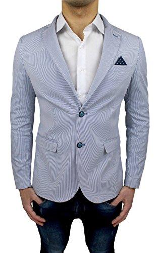 wholesale dealer 828ca 76446 Giacca Uomo Sartoriale Bianco Blu Rigata Slim Fit Elegante ...