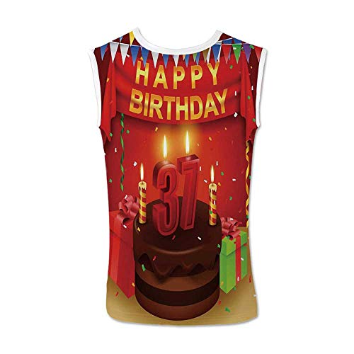 - 37th Birthday Decorations Comfortable Tank Top,Chocolate Cake Gifts Balloons Flag Cute Icons Candles Artsy Image for Men,XXL