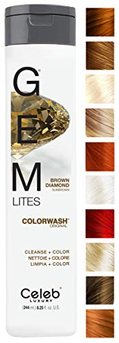 Celeb Luxury Gem Lites Colorwash: Brown Diamond Sunbrown, Color Depositing Shampoo, 10 Traditional Colors, Stops Fade in 1 Quick Wash, Cleanse + Color, Sulfate-Free, Cruelty-Free, 100% Vegan