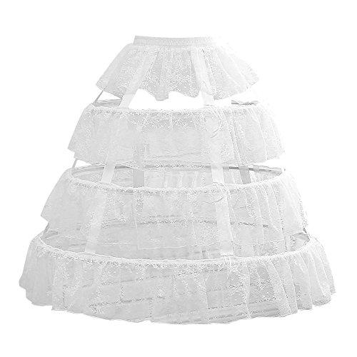 - Noriviiq Womens White 3 Hoop Petticoat Skirt Underskirt Lace Lolita Dress Crinoline Adjustable Style1