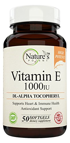 Vitamin E 1000 IU, (High Potency) Non GMO, dL Alpha, Tocopheryl, 50 Softgels Offered by Nature's Potent