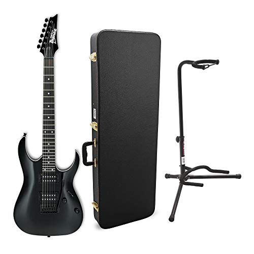 Ibanez GRGA120 6-String Electric Guitar (Right Handed, Black Night) Bundle with Tripod Guitar Stand (Black) and Electric Guitar Case