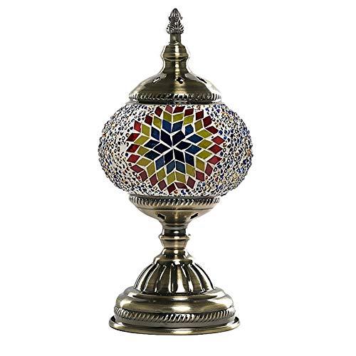Turkish Mosaic Lamp NBHUZEHUA Unusua Vintage Stained Glass Moroccan Style Table Light Room Decoration Art Deco