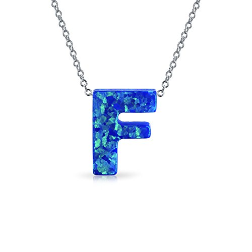 Blue Created Opal Abc Block Letter Alphabet Initial F Pendant Necklace For Women Sterling Silver October Birthstone (Colors That Start With The Letter F)