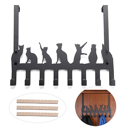 Sumnacon Decorative Over The Door Hooks, Removable Coat Rack Utility Hook With 8 Hooks For Hanging Towel Hat Bag Clothes Fit Up To 1.77