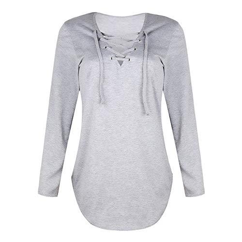 (Mnyycxen Women's Casual Strappy T-Shirts Long Sleeve T Shirts V Neck Tops Criss Cross Tunic Loose Blouse Basic Tee)