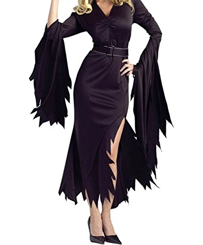 FQHOME Womens All Black Gothic Witch Halloween Costume Size L (Modest Teenage Halloween Costumes)