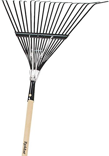 TOOLBASIX 33662 Leaf Rake with Resilient Tines and 19'' Wooden Handle