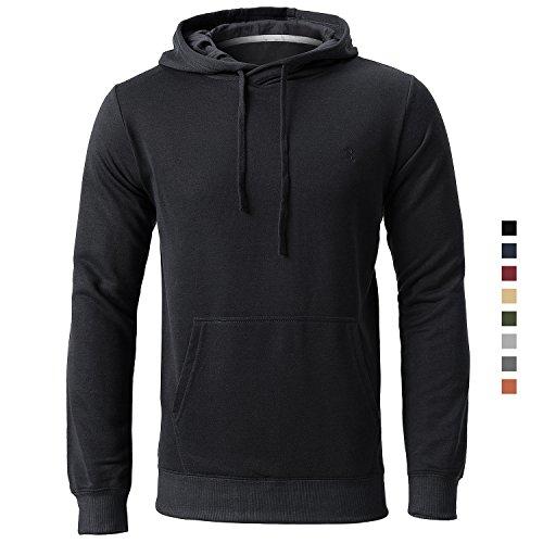 Pour Homme Noir Réglable Sweat Kangourou Longues Capuche Cordons Sweat Kangourou Homme shirt Par Et Manches Harrms Poches wURAHngq