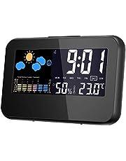 RabbitStorm Reloj Despertador Digital Multi función de Hora, Fecha, Temperatura, Porcentaje de Humedad. Reloj Despertador con Pantalla a Color, Boton de Snooze y de Luz. Reloj con Estación Meteorologica.