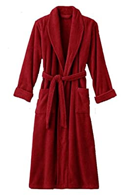 Mens and Womens XXXL Red Hooded Terry Bathrobe. Full Length 54 Inches 24oz. Heavyweight
