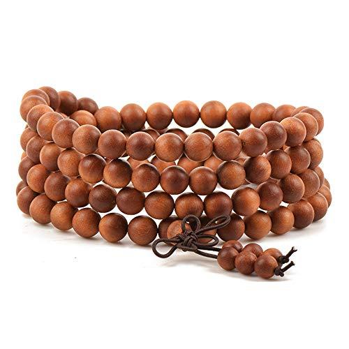 Unisex 108 Natural Gemstone Buddha Prayer Beads Mala Bracelets Buddhist Rosary Necklace (Indonesian Teak Bobbi Sandalwood)