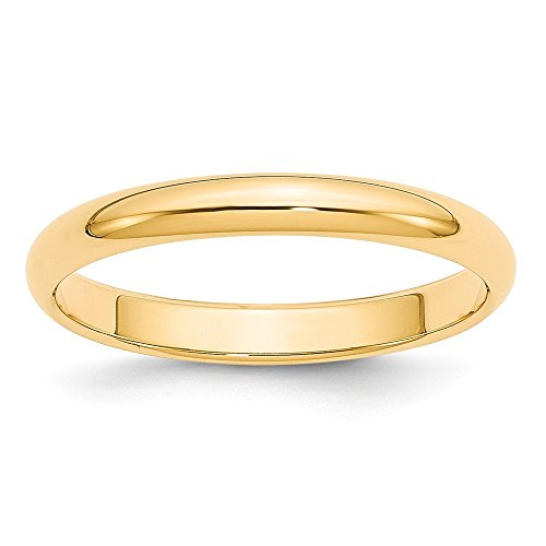Perfect Jewelry Gift 14k 3mm Half-Round Wedding Band by Jewelry Brothers Rings