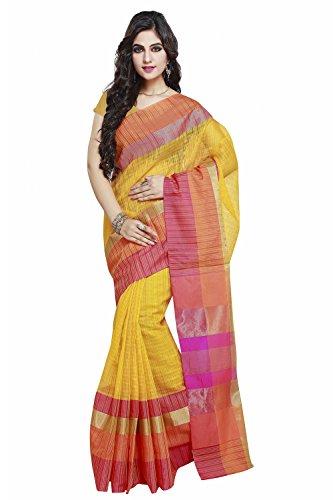 Yellow Sari (Janasya Women's Yellow Handloom Weaved Art Silk)